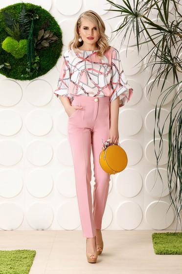 Rózsaszínű PrettyGirl elegáns egyenes irodai nadrág enyhén elasztikus szövet