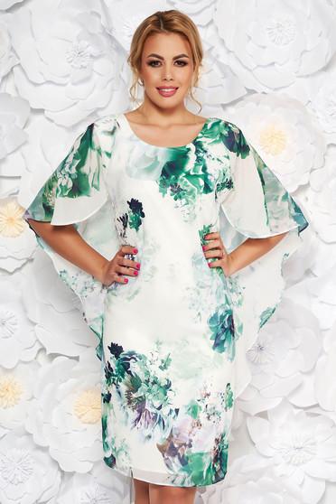 Világos zöld elegáns virágmintás ruha szűk szabás vékony anyag