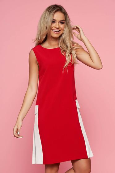 Piros Top Secret casual hétköznapi a-vonalú ruha pamutból készült