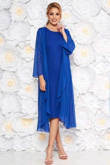 Kék elegáns midi ruha ujjatlan finom tapintású anyag bélés nélkül