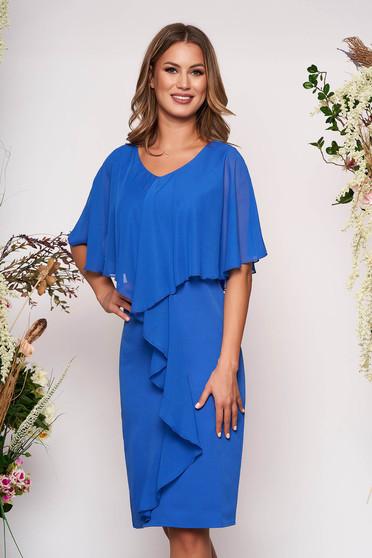 Kék alkalmi karcsusított szabású ujjatlan midi ruha enyhén rugalmas szövetből és muszlin anyagátfedéssel