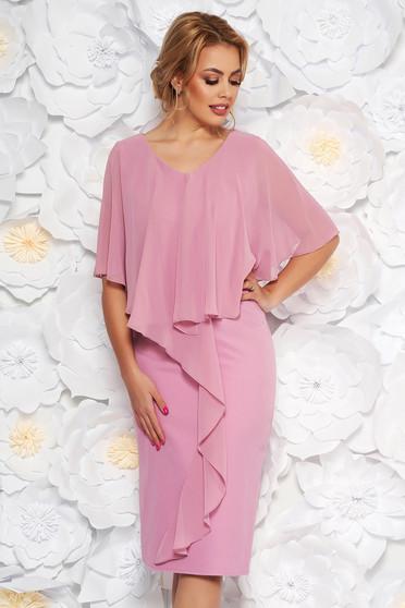 Világos rózsaszín alkalmi karcsusított szabás ujjatlan midi ruha enyhén rugalmas szövetből és muszlin anyagátfedés
