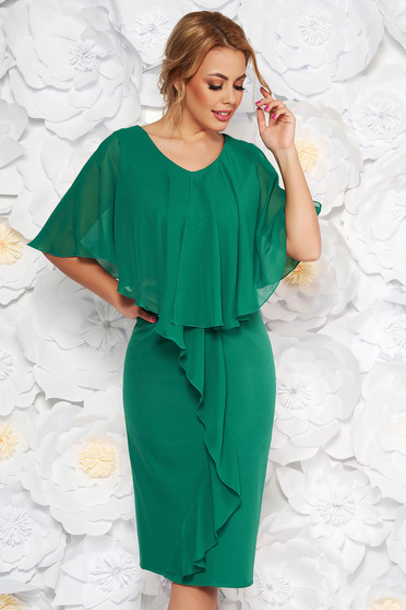 Zöld alkalmi karcsusított szabású ujjatlan midi ruha enyhén rugalmas szövetből és muszlin anyagátfedés
