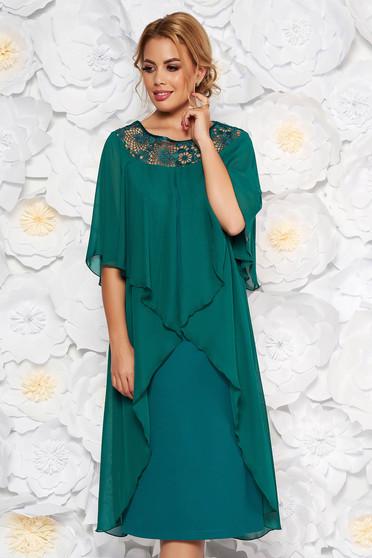 Zöld alkalmi egyenes ruha enyhén elasztikus szövet fátyol anyagátfedés
