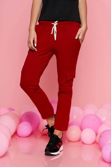 Burgundy SunShine casual nadrág derékban rugalmas zsebes enyhén elasztikus pamut