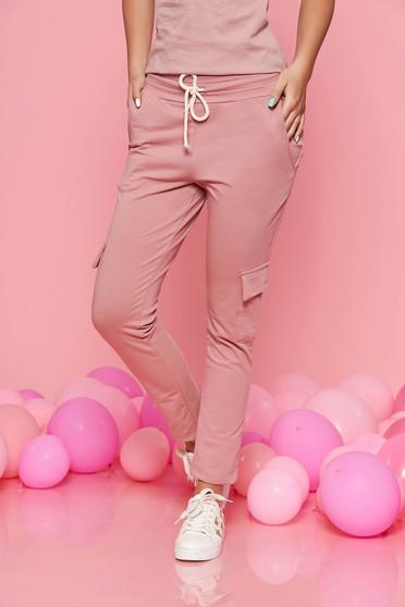 Rózsaszínű SunShine casual nadrág derékban rugalmas zsebes enyhén elasztikus pamut