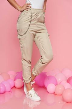 Krém SunShine casual nadrág derékban rugalmas eltávolítható vékony lánc