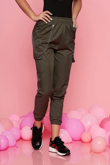 Kaki SunShine casual nadrág derékban rugalmas eltávolítható vékony lánc