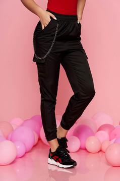 Fekete SunShine casual nadrág derékban rugalmas eltávolítható vékony lánccal