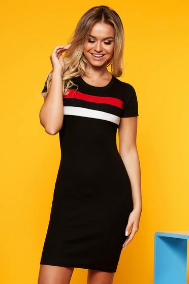 Fekete SunShine casual ruha szűk szabás rövid ujjú