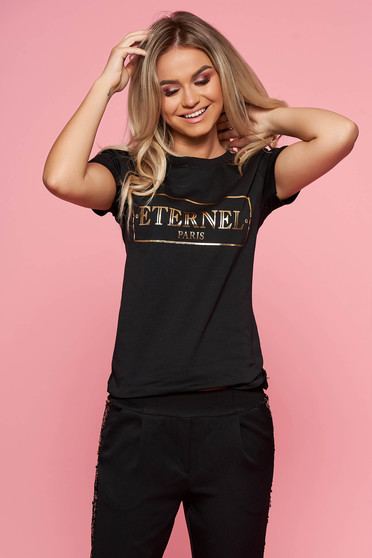 Fekete SunShine casual póló rövid ujjakkal enyhén elasztikus pamut