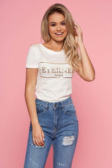 Fehér SunShine casual póló rövid ujjakkal enyhén elasztikus pamut