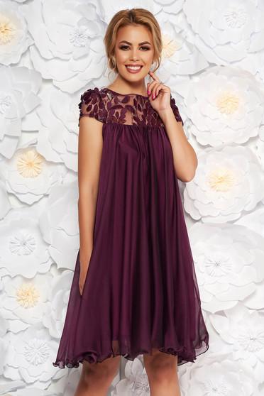 Lila Artista alkalmi bő szabású ruha fátyol anyag hímzett és flitteres díszítés