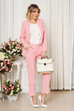 Pink irodai egyenes szabású zsebes nadrág enyhén rugalmas szövetből