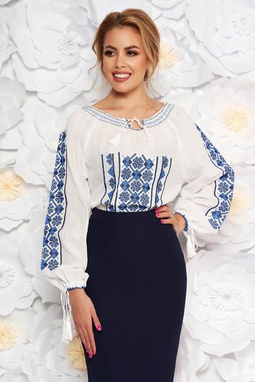 Kék bő szabású hímzett női ing nem elasztikus pamut zsinórral van ellátva
