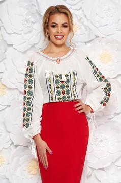 Zöld bő szabású hímzett női ing nem elasztikus pamut zsinórral van ellátva