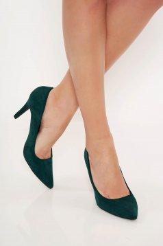 Zöld Top Secret irodai cipő enyhén hegyes orral bársonyos anyag
