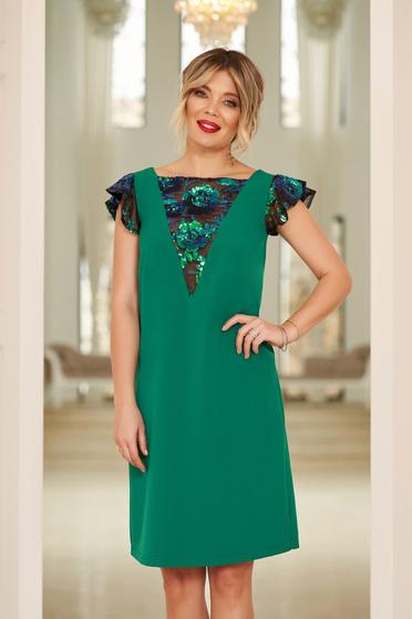 Zöld StarShinerS alkalmi bő szabású ruha flitteres díszítés