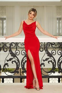 Piros StarShinerS alkalmi hosszú szirén tipusú ruha