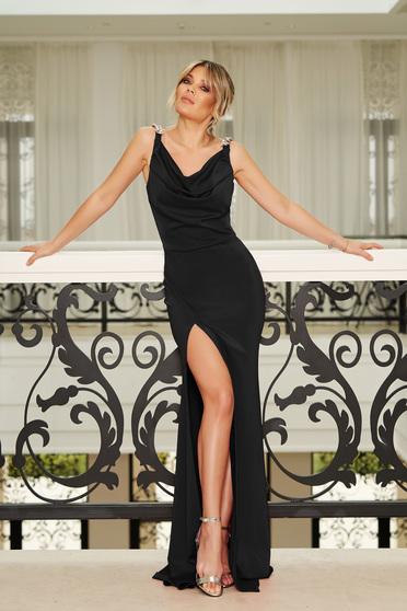 Fekete StarShinerS alkalmi hosszú szirén tipusú ruha