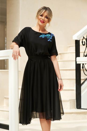 Fekete StarShinerS alkalmi harang ruha derékban rugalmas övvel ellátva