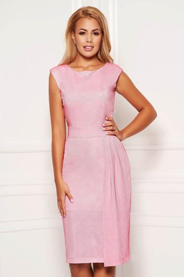 Rózsaszínű StarShinerS alkalmi szűk szabású ruha fényes anyagból béléssel