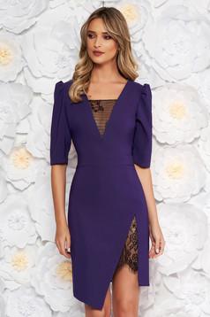 Lila LaDonna elegáns ruha szűk szabás v-dekoltázzsal csipke díszítéssel