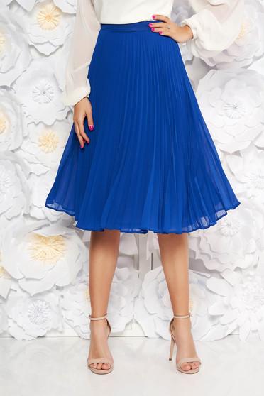 Kék StarShinerS elegáns harang szoknya rakott muszlinból