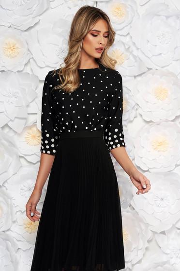 Fekete StarShinerS elegáns női blúz bő szabás pöttyös vékony anyag
