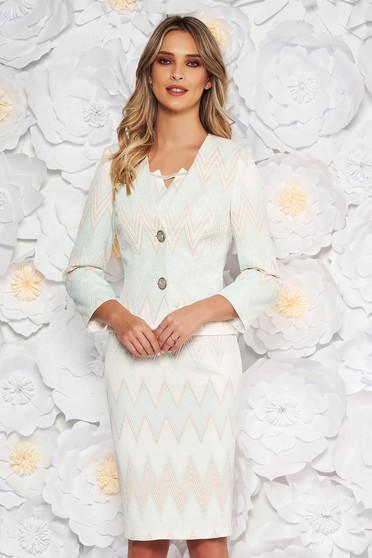 Fehér elegáns két részes női kosztüm jaqcuard lamé szállal