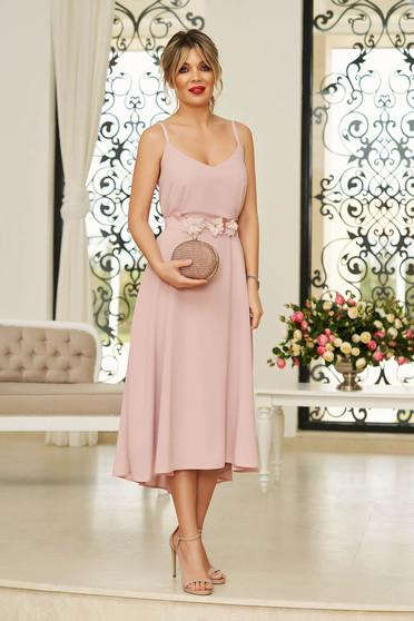 Rózsaszínű StarShinerS alkalmi midi ruha fátyol anyagból v-dekoltázzsal övvel ellátva