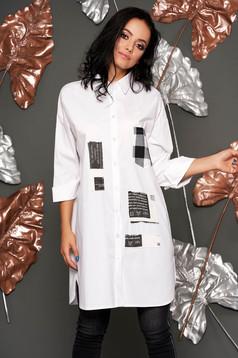 Fehér casual bő szabású női ing vékony anyagból háromnegyedes ujjakkal