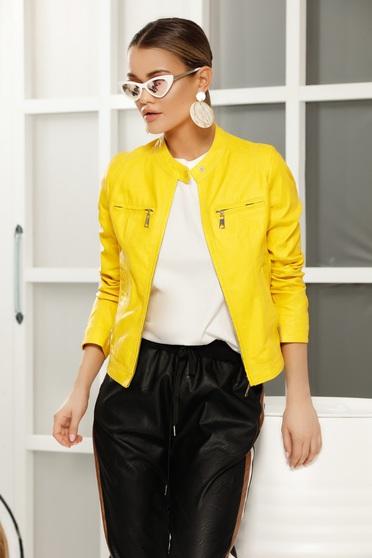 Sárga casual dzseki műbőr belső béléssel egyenes szabás