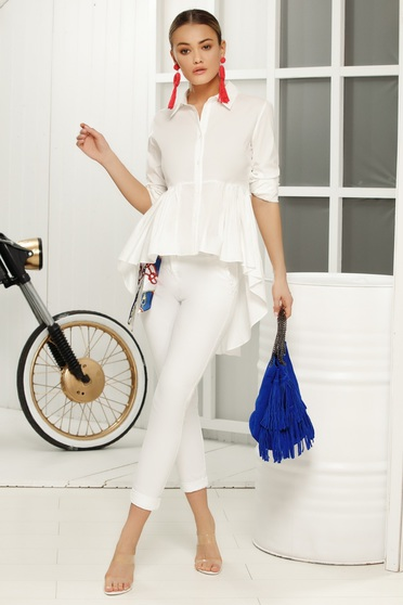 Fehér casual nadrág szűk szabás vékony anyag