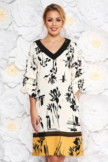 Mustar LaDonna elegáns hétköznapi egyenes ruha 3/4-es ujjakkal enyhén rugalmas anyag virágmintás díszítéssel