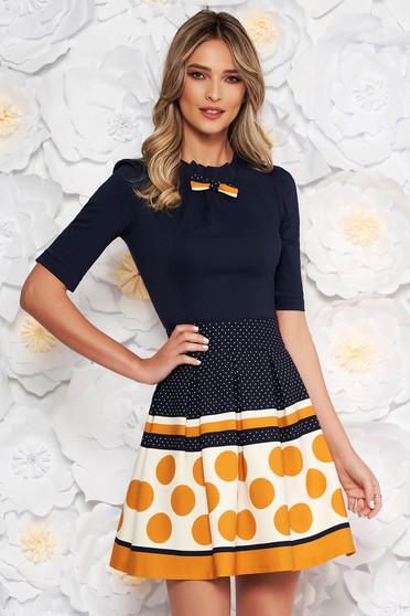 Mustar Fofy irodai női ing szűk szabás enyhén elasztikus pamut masni díszítéssel