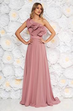 Világos rózsaszínű Ana Radu luxus egy vállas fodros ruha muszlinból béléssel övvel ellátva