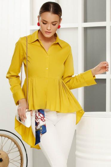 Sárga aszimetrikus bő szabású női ing vékony anyag hosszú ujjakkal