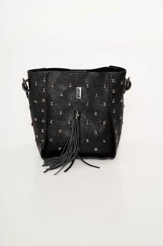 Fekete Top Secret bojtos táska fémes szegecsekkel