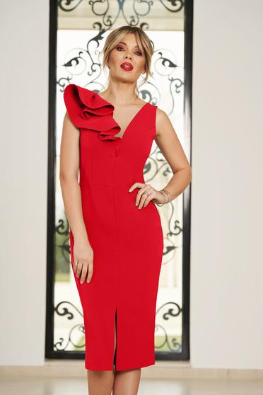 Piros StarShinerS alkalmi fodros szűk szabású ruha v-dekoltázzsal enyhén rugalmas szövetből
