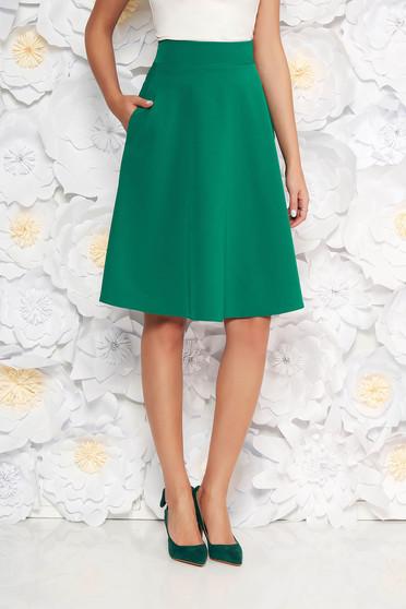 Zöld StarShinerS elegáns harang szoknya magas derekú enyhén elasztikus szövet irodai