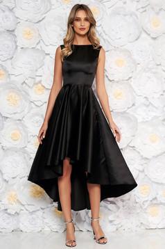 Fekete elegáns alkalmi aszimetrikus ujjatlan harang ruha szatén anyagból