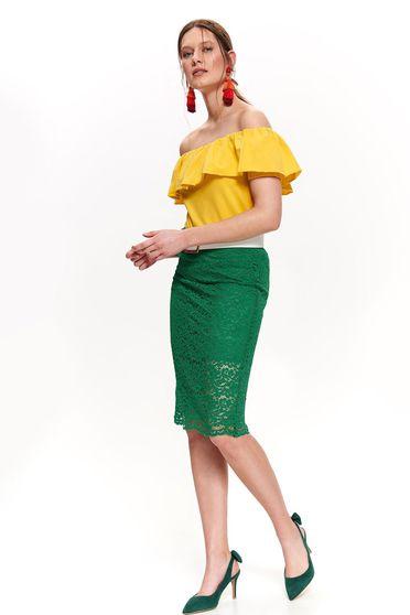 Sárga Top Secret casual bő szabású váll nélküli női blúz fodrok a dekoltázs vonalánál pamutból készült