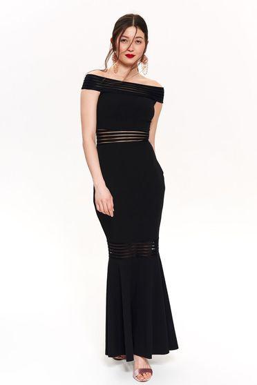 Fekete Top Secret alkalmi hosszú szirén tipusú ruha váll nélküli