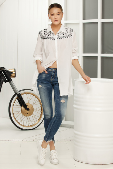 Fehér casual női ing asszimmetrikus bő szabás lenge anyagból
