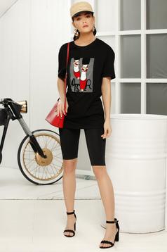 Fekete casual bő szabású rövid ujjú póló vékony anyagból