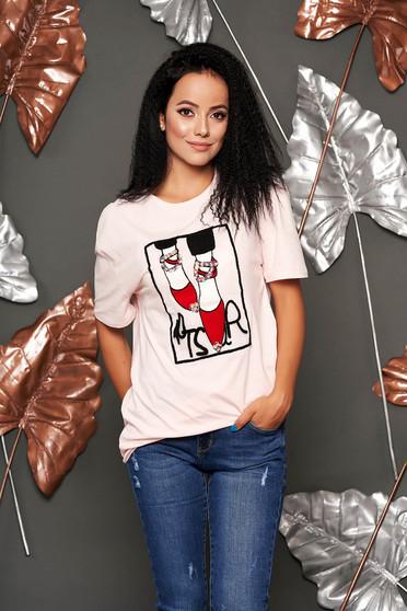Rózsaszínű casual bő szabású rövid ujjú póló vékony anyag