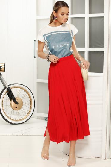 Piros elegáns rakott harang szoknya fátyol