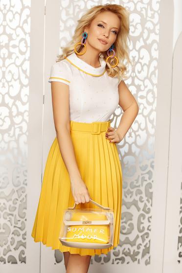 Mustar Fofy elegáns női ing szűk szabású rövid ujjakkal enyhén elasztikus pamut kerek gallérral