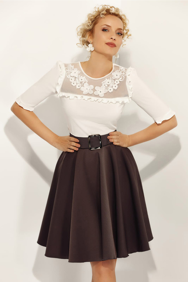 e299d3d756 Fehér Fofy elegáns női ing szűk szabás enyhén elasztikus pamut fodros csipke  díszítéssel